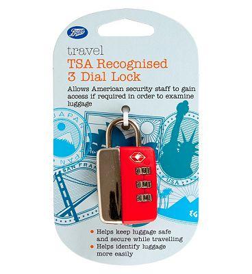 Boots Security TSA Travel Sentry 3 Dial Combination Lock