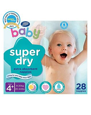 Boots Baby Super Dry Nappies Size 4 Maxi Plus Carry Pack  1 x 28 Nappies