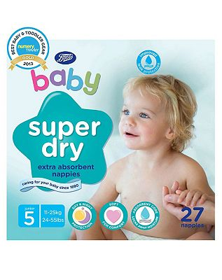 Boots Baby Super Dry Nappies Size 5 Junior Carry Pack  27 Nappies
