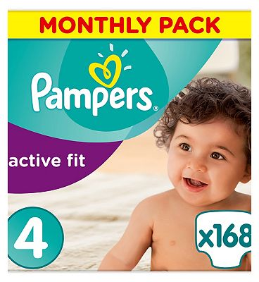 Pampers Active Fit Nappies Size 4 Monthly Pack  168 Nappies