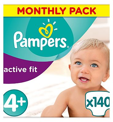 Pampers Active Fit Nappies Size 4 Monthly Pack  140 Nappies