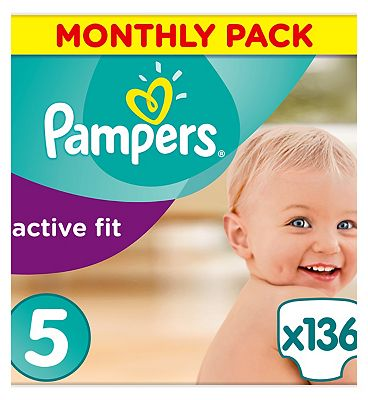Pampers Active Fit Nappies Size 5 Monthly Pack  136 Nappies