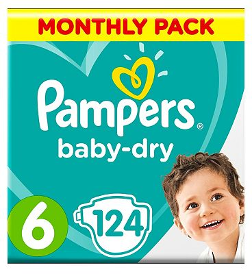 Pampers BabyDry Nappies Size 6 Monthly Pack   124 Nappies
