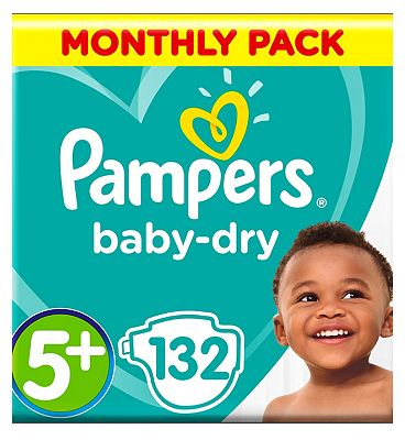 Pampers BabyDry Nappies Size 5 Monthly Pack   132 Nappies