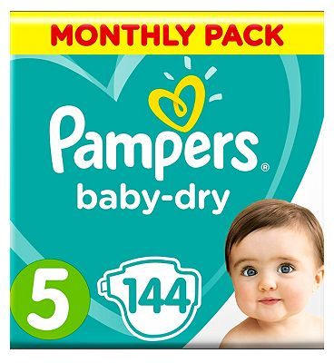 Pampers BabyDry Nappies Size 5 Monthly Pack   144 Nappies