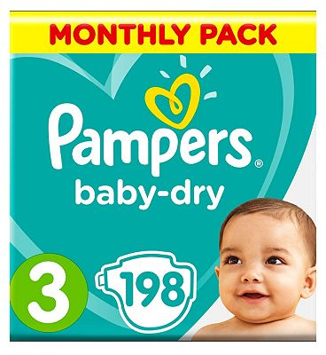 Pampers BabyDry Nappies Size 3 Monthly Pack   198 Nappies