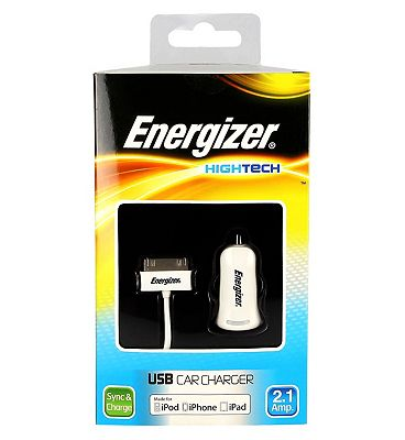 Energizer High Tech Car Charger with USB for iPhone 4 iPod iPad