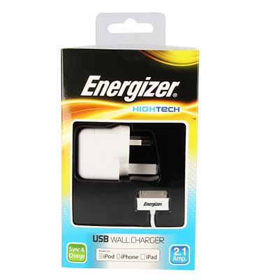 Energizer High Tech Mains Charger with USB for iPhone 4 iPod iPad