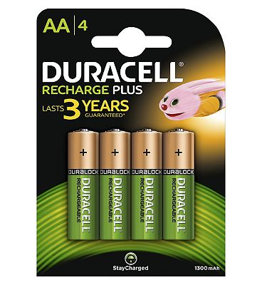Duracell Rechargable AA 1300 mAh Batteries x4
