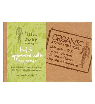 Little Soap Co Organic English Peppermint with Poppyseeds 110g.