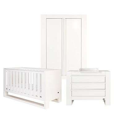 Tutti Bambini Rimini 3 Piece Room Set (Cot Chest Wardrobe)  High Gloss White Finish
