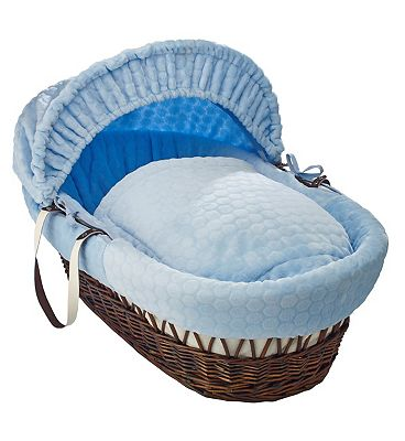 Clair de Lune Marshmallow Dark Wicker Moses Basket  Blue
