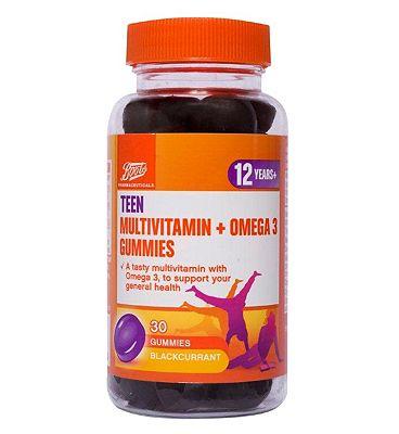 Boots Teen Multivitamin & Omega 3 30  Blackcurrant Gummies