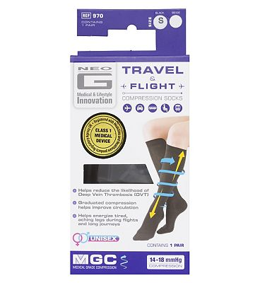 Neo G Travel and Flight Compression Socks Small Black