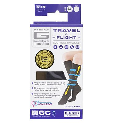 Neo G Travel and Flight Compression Socks Medium Black