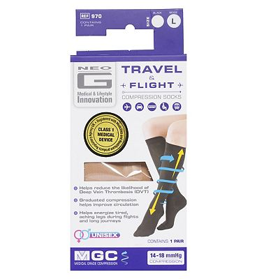 Neo G Travel and Flight Compression Socks Large Beige