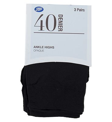 Boots Opaque Ankle Highs 40 denier (3 pack)