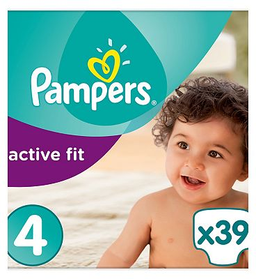 Active Fit Size 4, 39 Nappies, 8-16kg,With Magical Pods