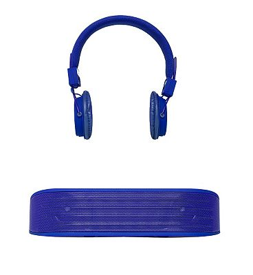 Image of Vivitar Bluetooth Speaker and Headphones Set- Blue