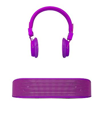 Image of Vivitar Bluetooth Speaker and Headphones Set- Purple