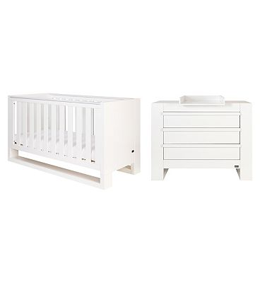 Tutti Bambini Rimini 2 Piece Room Set (Cot Chest)  High Gloss White Finish