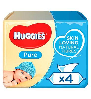 Huggies Baby Wipes Pure Quads 56s