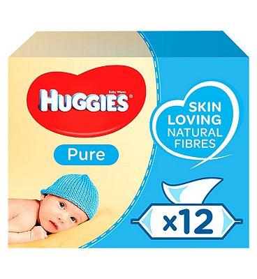 Huggies Pure Baby Wipes 56 pack x 12