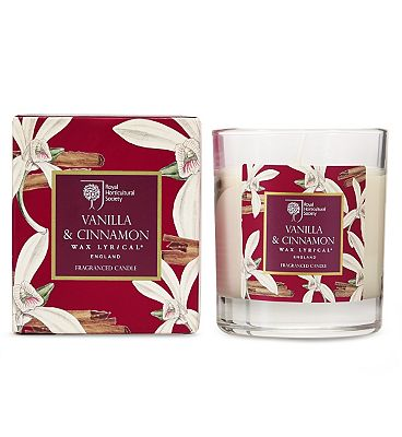 Wax Lyrical RHS Scented Boxed Wax Glass Filled Candle Vanilla & Cinnamon.