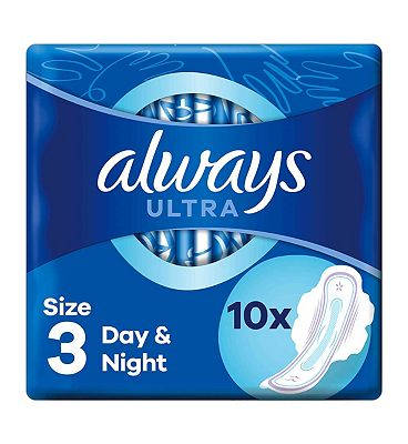 Always Ultra Night Sanitary Towels with wings Single Packs x 10 pads