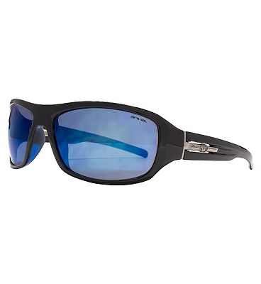 Animal Black Sports Sunglasses with Metal Logo Trim