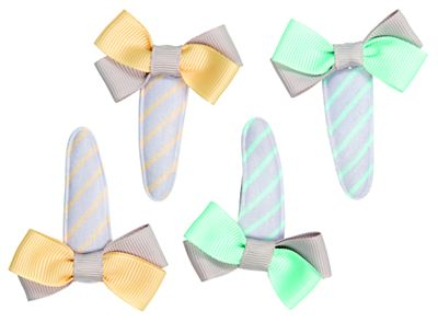 Scunci baby bow fabric snapclips 4s.