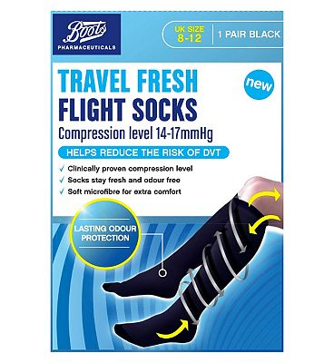 Boots Pharmaceuticals Travel Fresh Flight Socks - Black UK size 8-12