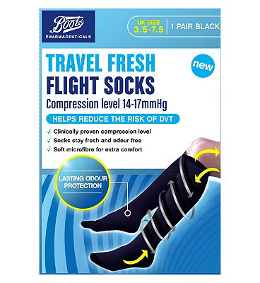 Boots Pharmaceuticals Travel Fresh Flight Socks - Black UK size 3.5-7.5