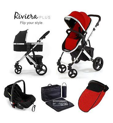 Tutti Bambini Riviera Plus 3-in-1 Chrome Travel System - Black/Coral Red.