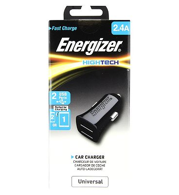 Energizer In Car Charger Adapter 2.4A 2 x USB Black
