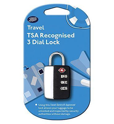 Boots Security Travel TSA 3 Dial Lock