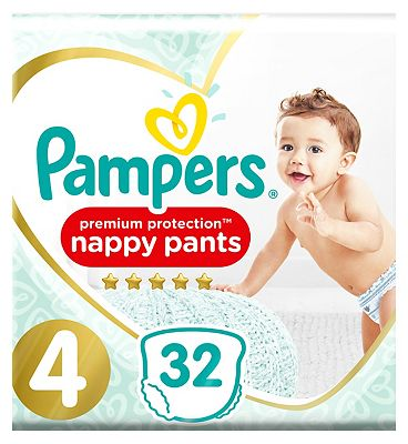 Premium Active Fit Nappy Pants, Size 4, 8-14Kg, 32 Nappies