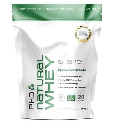 PhD Natural Whey Protein Powder - Vanilla Almond (500g).