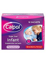 Calpol Sugar Free Suspension Strawberry Flavour 2+ Months 12x5ml sachets