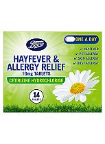 Boots Hayfever & Allergy Relief 10mg Tablets Cetirizine Hydrochloride (14 tablets)