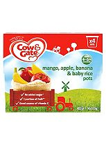 Cow & Gate Mangoes, Bananas, Apples & Baby Rice Fruit Pots 4x100g