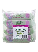 Simple Baby Moisturising Wipes - 4 x 80 Pack Wipes