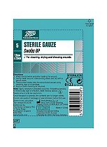 Boots Pharmaceuticals Sterile Swabs BP (7.5cm x 7.5cm)- Pack of 5