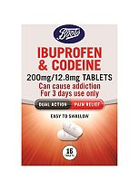 Boots Pharmaceutical Ibuprofen and Codeine 200 mg/12.8 mg Tablets - 16 Tablets