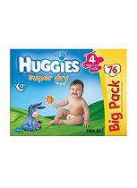Huggies Super-Dry Nappies Size 4 Big Pack - 1 x 76 Nappies