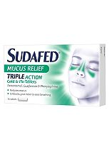 Sudafed Mucus Relief Triple Action Cold & Flu Tablets - 16 tablets
