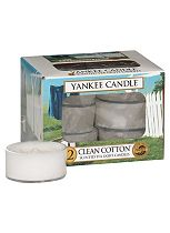 Yankee Candle box of 12 tea lights - Clean Cotton
