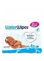 WaterWipes Baby Wipes Chemical-Free Sensitive 4 x 60 (240 wipes)