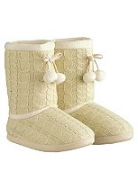 So Snug Cable Knit Boot Slippers