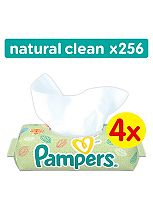 Pampers Natural Clean Baby Wipes 4x64Packs 256 Wipes